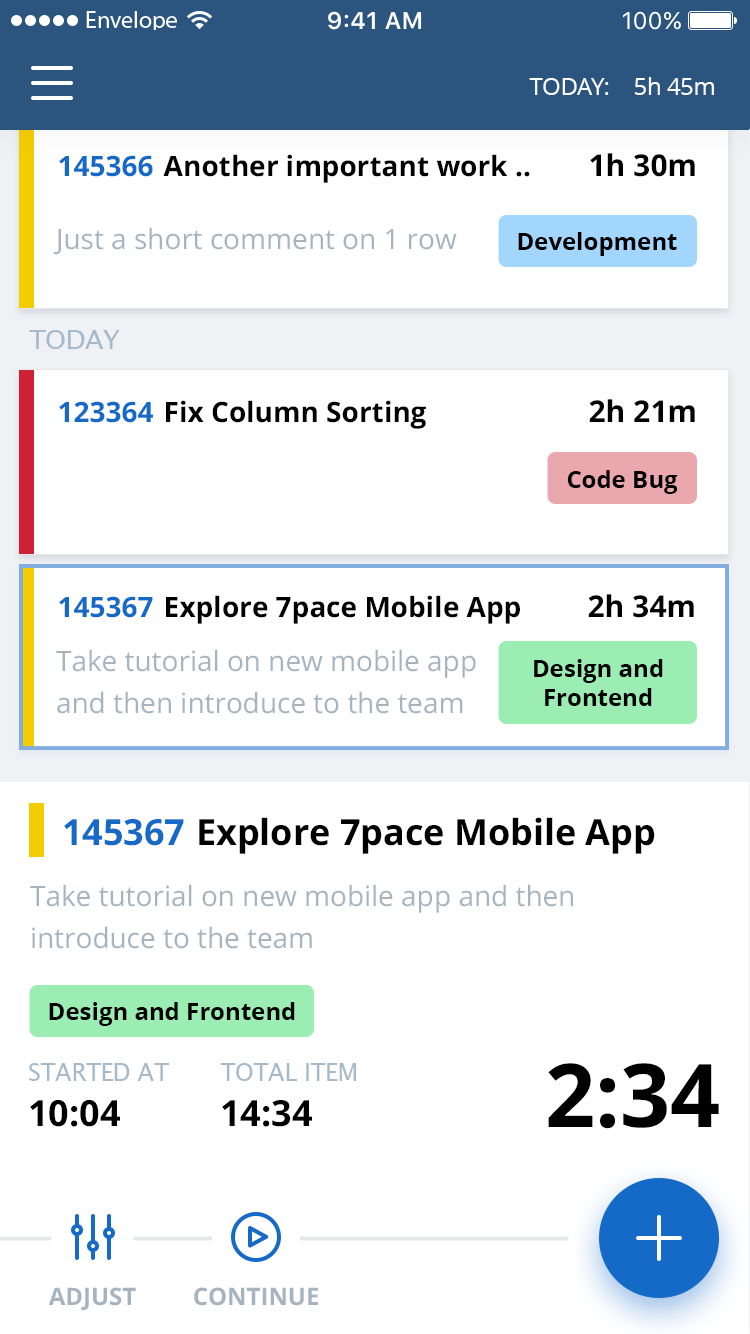 7pace Timetracker Smartphone client, screenshot