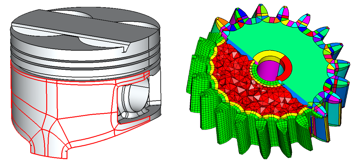 Automatic subdivision of complex CAD surfaces & solid with hybrid hex-skin mesh