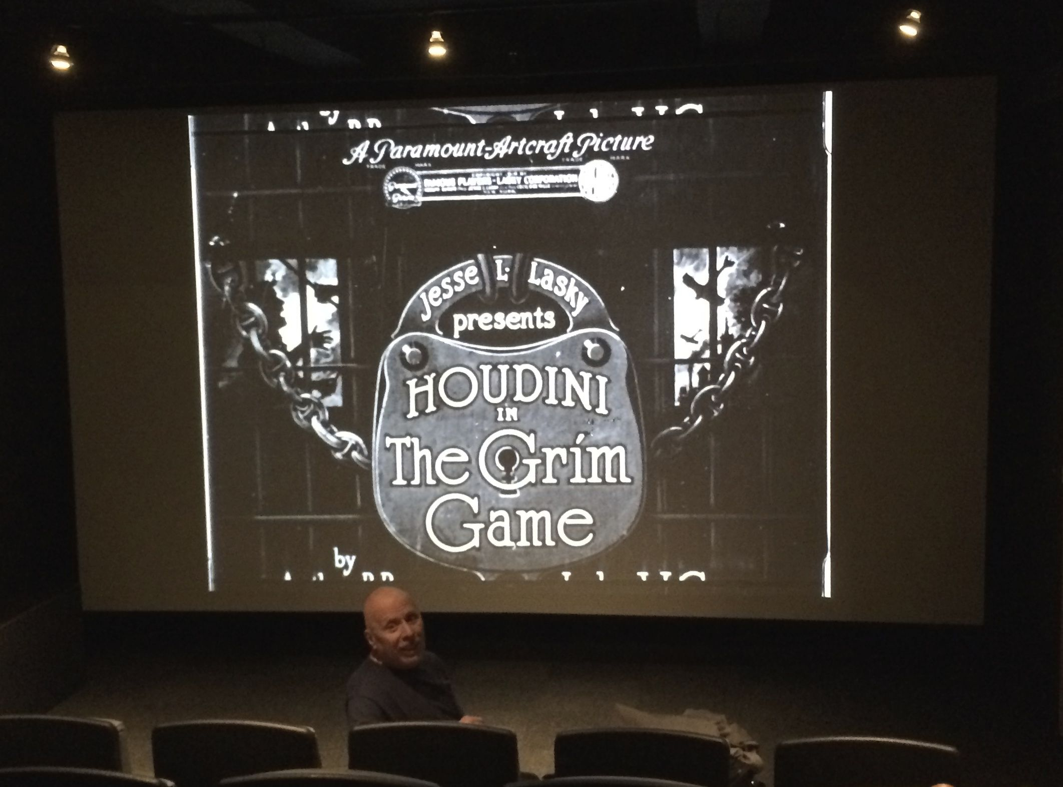 Dick Brookz in studio restoring Houdini's long lost-best film The Grim Game 2015
