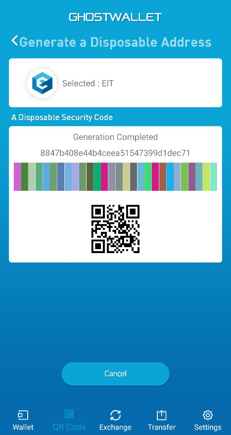 A Disposable Color Code and QR Code are generated