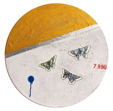 Guy Stanley Philoche, 14 Karat Gold Paint with Three Money Butterflies, 48 in.
