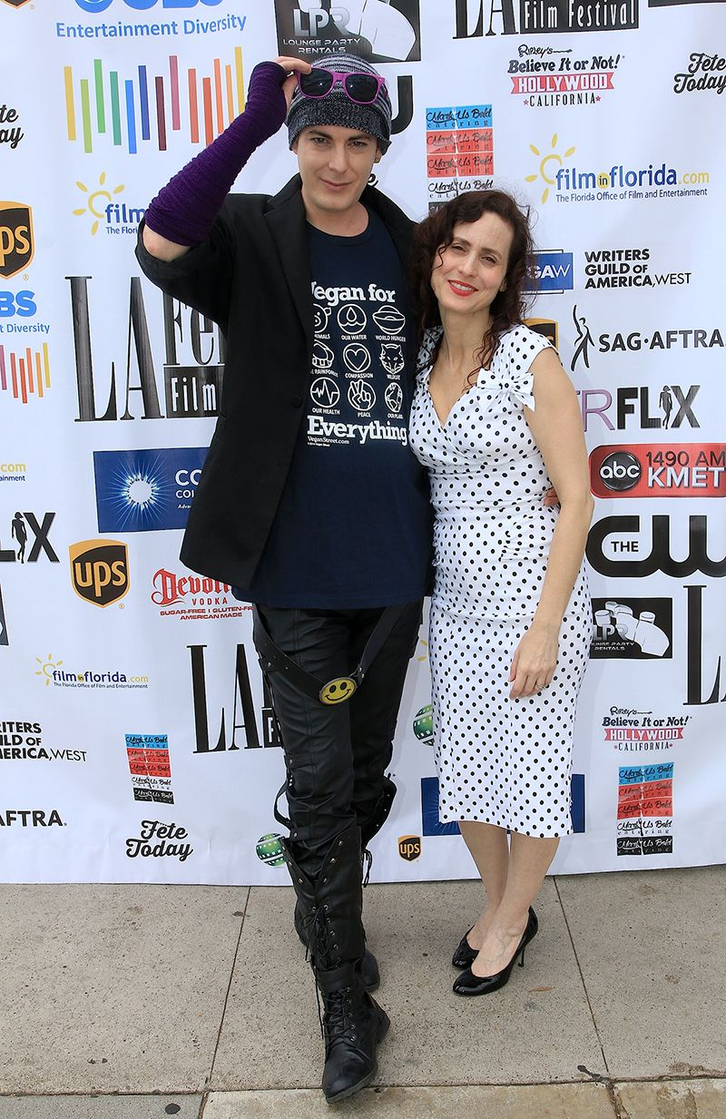 "Jeanne Marie Spicuzza and Synthian Sharp at world premiere of ""The Scarapist"""