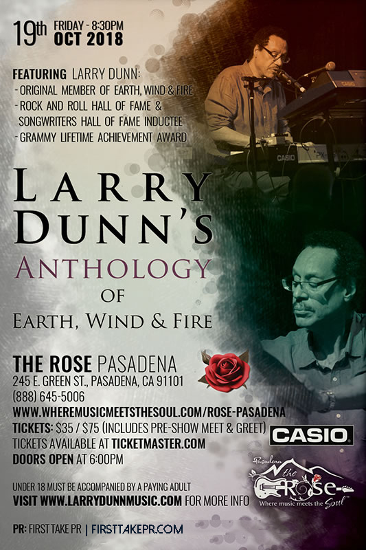 """Larry Dunn's Anthology of Earth Wind & Fire"" Key Art for The Rose Oct 19, 2018"