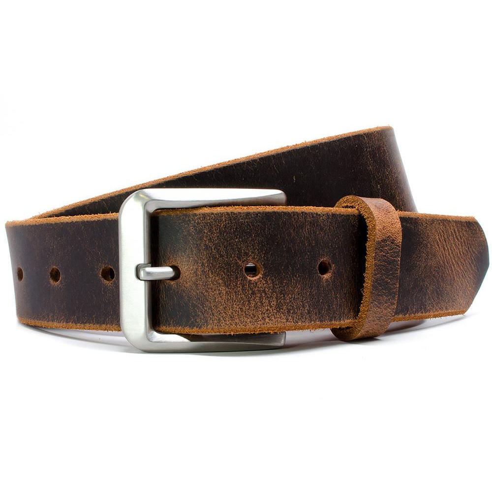 Mt. Pisgah Casual Titanium Distressed Leather Belt
