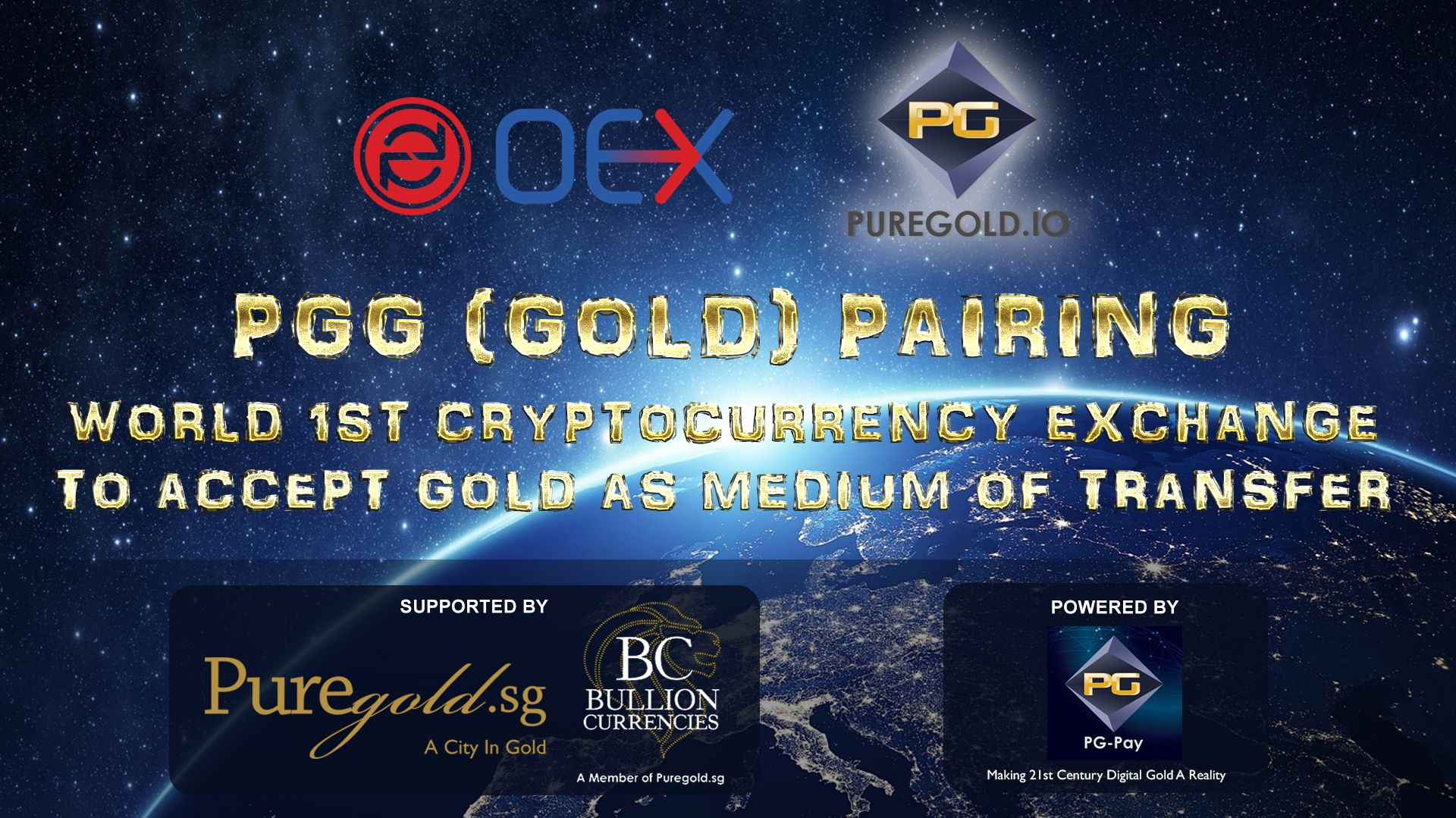 OEX.com, World's First Cryptocurrency Exchange to accept PGG (Gold) Pairing