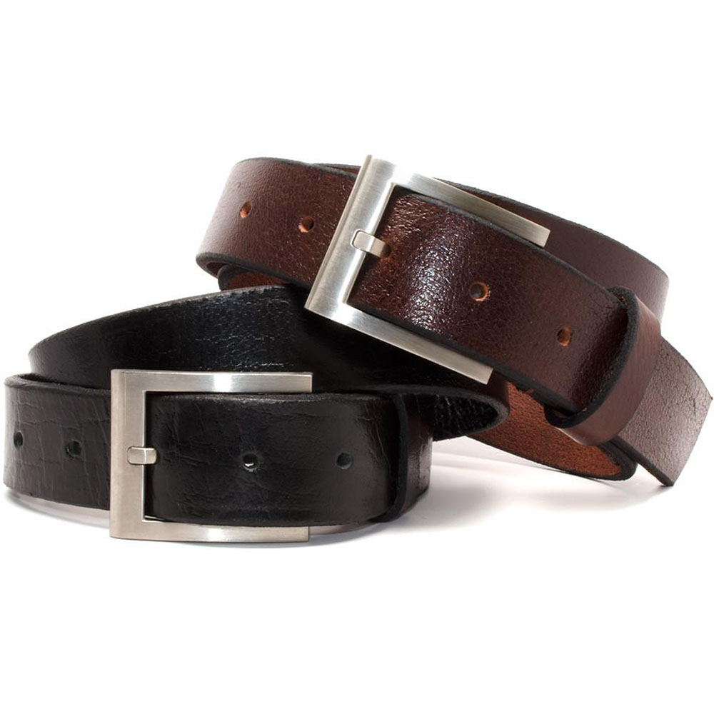 Silver Square Titanium Belt Set - black & brown belts