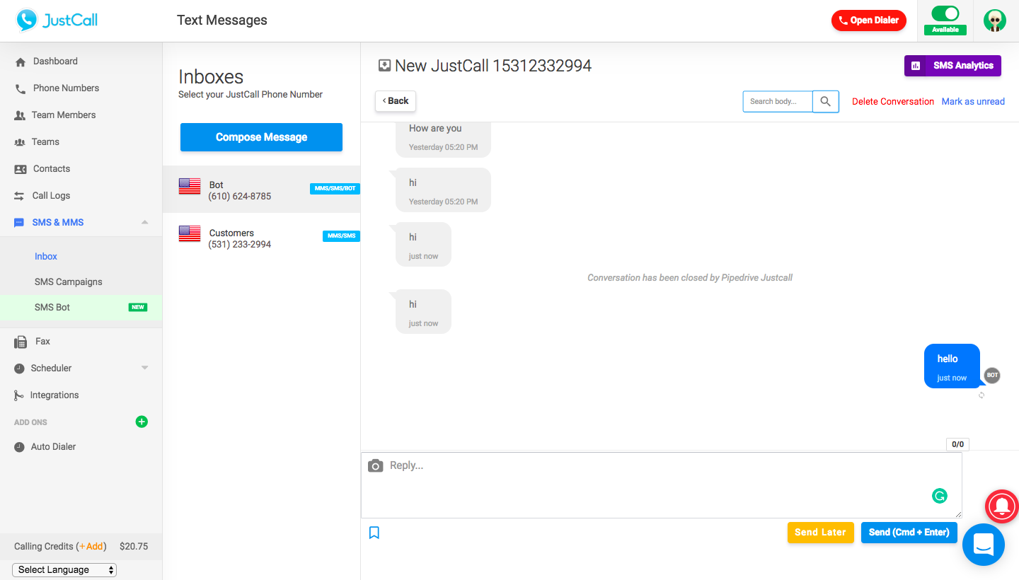 SMS Inbox To Track Texts & Bot Replies