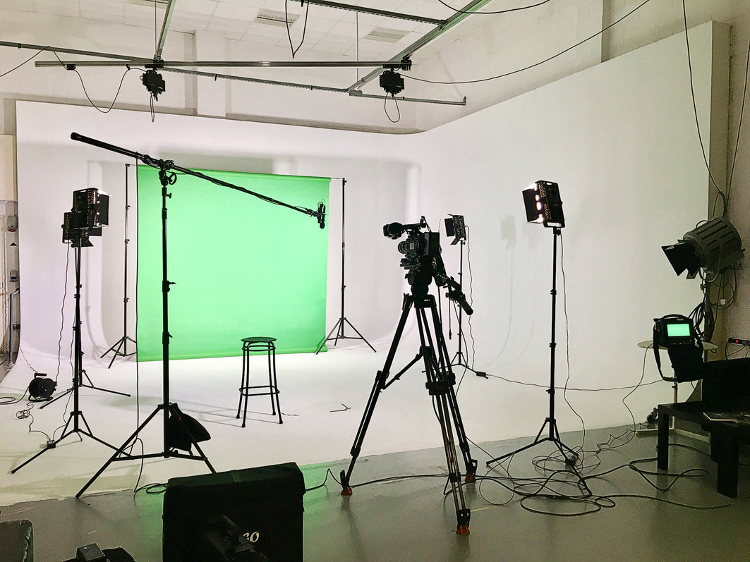 A typical green screen set up in the studio which can also be erected on site.