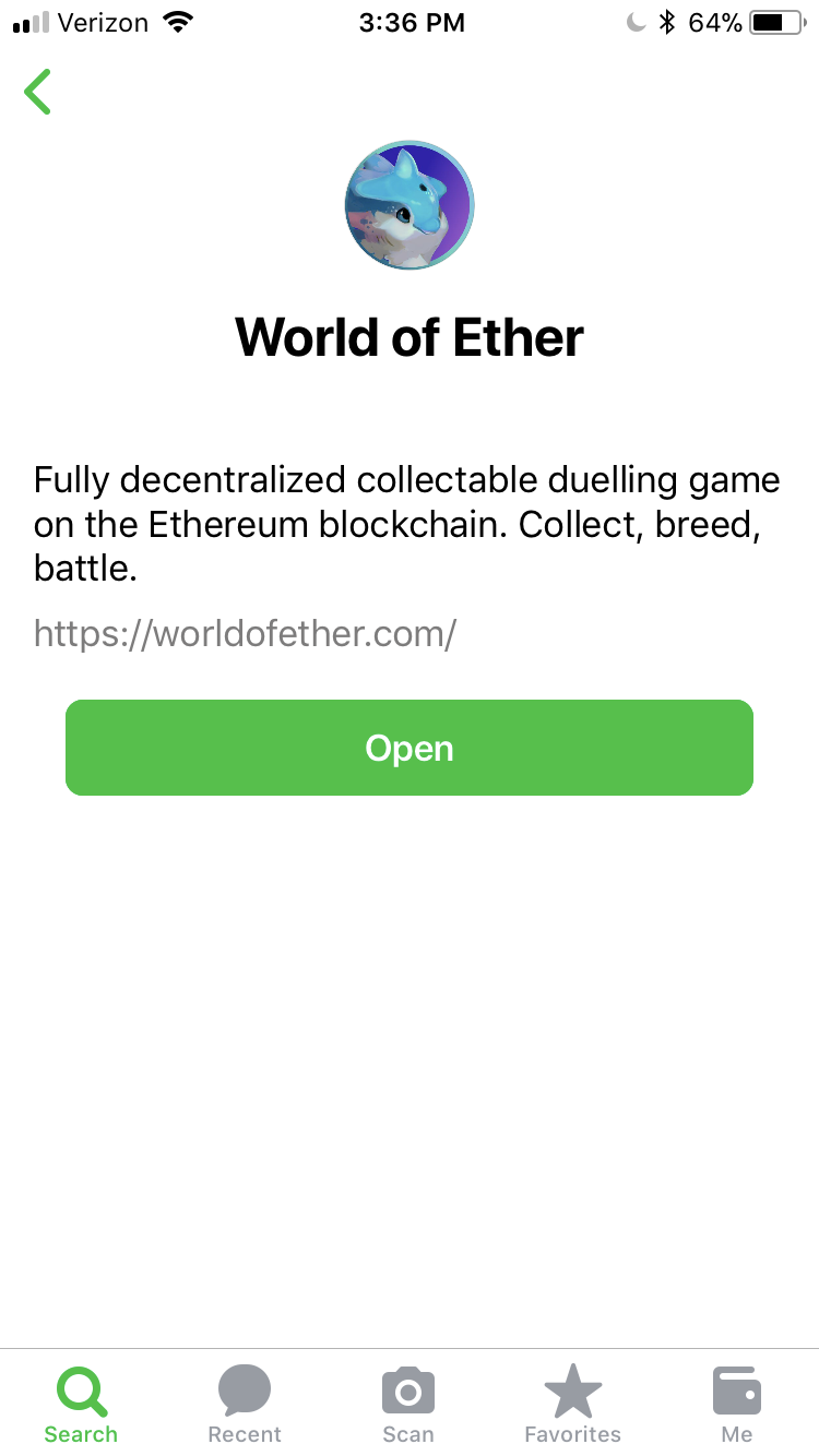 World of Ether Description on Toshi